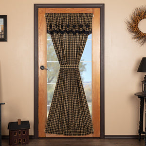 Black Star Lined Door Panel with Attached Valance 72""