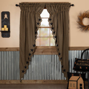 Black Star Scalloped Lined Long Prairie Curtains 84""