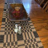 "Westbury Black and Tan Woven Table Runner 56"" - Primitive Star Quilt Shop"