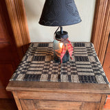 "Primitive Black and Tan Woven Coverlet Table Runner 56"" - Primitive Star Quilt Shop"