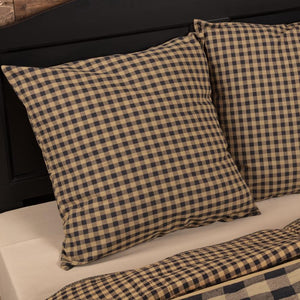 Black Check Fabric Euro Sham 26x26""