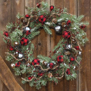 Buffalo Gingham Country Holiday Wreath 24""