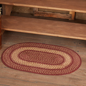 "Primitive Burgundy Tan Oval Braided Rug 20x30"" - with Pad"