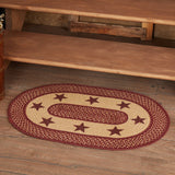 "Primitive Burgundy Tan Stars Oval Braided Rug 20x30"" - with Pad - Primitive Star Quilt Shop"