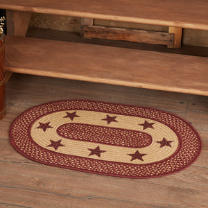 "Primitive Burgundy Tan Stars Oval Braided Rug 20x30"" - with Pad"
