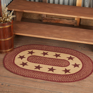 Primitive Burgundy Tan Stars Oval Braided Rug 24x36""