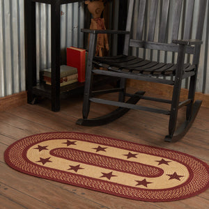 Primitive Burgundy Tan Stars Oval Braided Rug 27x48""