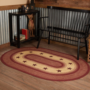 Primitive Burgundy Tan Stars Oval Braided Rug 4x6""
