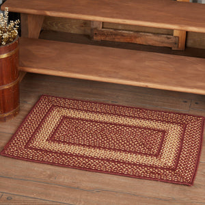 Primitive Burgundy Tan Rectangle Braided Rug 20x30""
