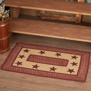 Primitive Burgundy Tan Stars Rectangle Braided Rug 20x30""