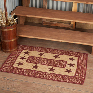 Primitive Burgundy Tan Stars Rectangle Braided Rug 24x36""