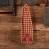 Burgundy Star Button Loop Tea Towel - Primitive Star Quilt Shop
