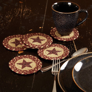 "Burgundy and Tan Stencil Braided Coaster 4"" - Set of 6"