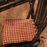 "Burgundy Check Chair Pad 15"" - Primitive Star Quilt Shop"
