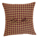 "Burgundy Check Fabric Pillow 16"" Filled - Primitive Star Quilt Shop"