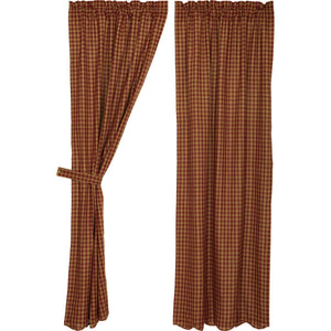 Burgundy Check Scalloped Lined Panel Curtains 84""