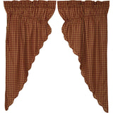 "Burgundy Check Scalloped Lined Prairie Curtains 63"" - Primitive Star Quilt Shop"