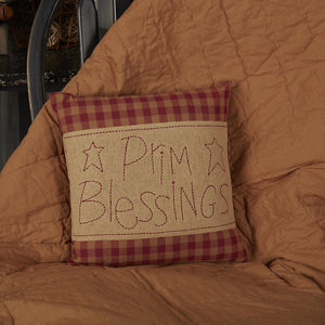 Burgundy Check Prim Blessings Pillow 12""