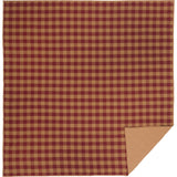 Burgundy Check Quilted Coverlet Queen Coverlet- Primitive Star Quilt Shop