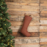 "Burgundy Check Stocking 12x20"" - Primitive Star Quilt Shop"