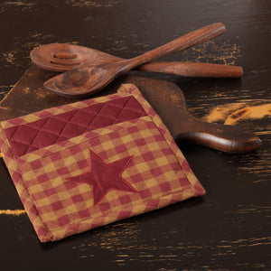 Burgundy Star Pot Holder 8""
