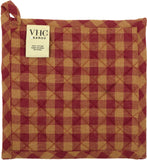 "Burgundy Star Pot Holder 8"" - Primitive Star Quilt Shop"