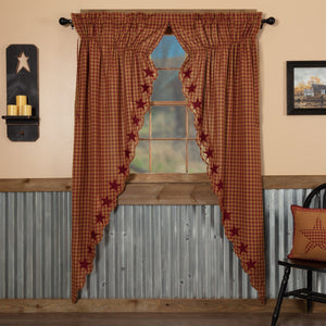 Burgundy Star Scalloped Lined Long Prairie Curtains 84""