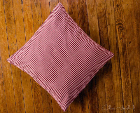 "Burgundy and Tan Fabric Euro Sham 26x26"" - Primitive Star Quilt Shop"