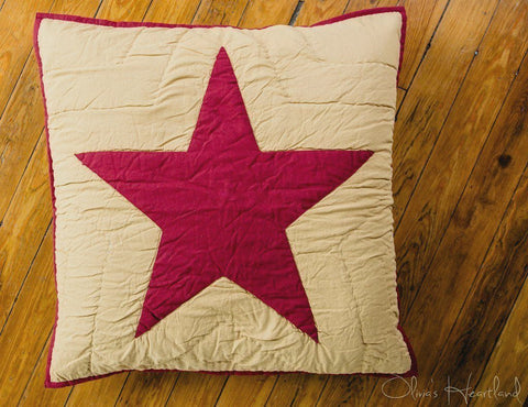 "Burgundy and Tan Quilted Euro Sham 26x26"" - Primitive Star Quilt Shop"