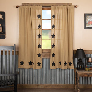 Burlap Natural Black Stencil Star Short Panel Curtains 63""