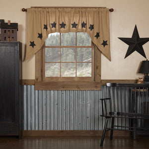 Burlap Natural Black Stencil Star Swag Curtains