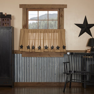 Burlap Natural Black Stencil Star Tier Curtains 24""