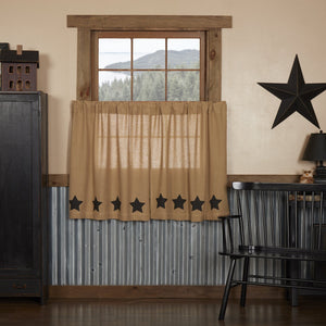Burlap Natural Black Stencil Star Tier Curtains 36""