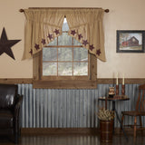 Burlap Natural Burgundy Stencil Star Prairie Swag Curtains - Primitive Star Quilt Shop