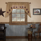 Burlap Natural Burgundy Stencil Star Swag Curtains - Primitive Star Quilt Shop