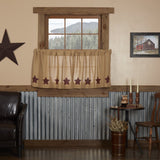 "Burlap Natural Burgundy Stencil Star Tier Curtains 24"" - Primitive Star Quilt Shop"