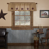 "Burlap Natural Burgundy Stencil Star Valance 72"" - Primitive Star Quilt Shop"