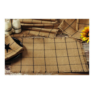 Burlap Check Tan Napkin