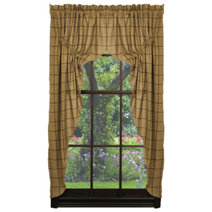 Burlap Check Tan Prairie Curtains 63""