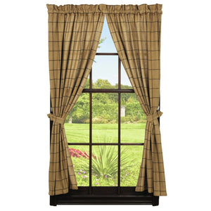 Burlap Check Tan Short Panel Curtains 63""