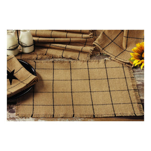 Burlap Check Tan Runner 13x36""