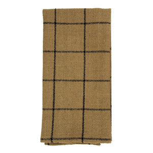 Burlap Check Tan Tea Towel