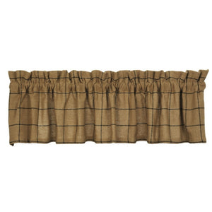 Burlap Check Tan Valance 72""