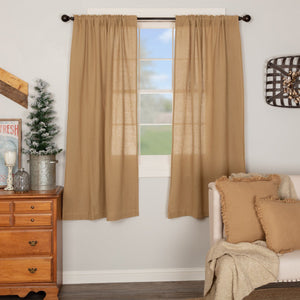 Burlap Natural Short Panel Curtains 63""