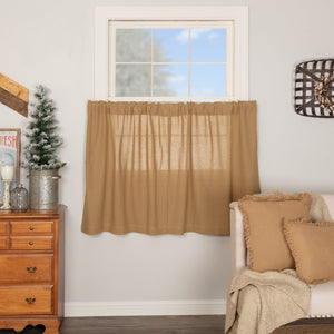 Burlap Natural Tier Curtains 36""