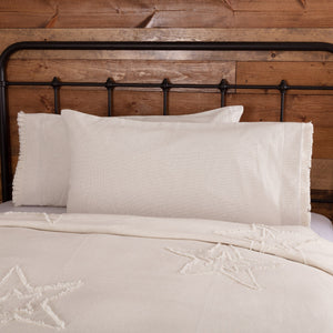 Burlap Antique White Ruffled King Pillow Case - Set of 2