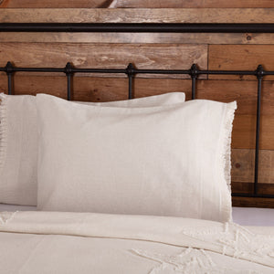 Burlap Antique White Ruffled Standard Pillow Case - Set of 2