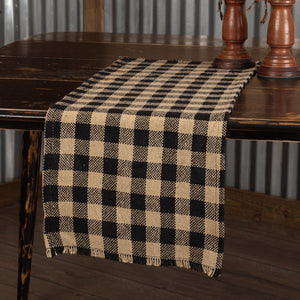 Burlap Black Check Fringed Runner 13x36""