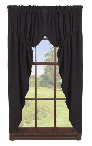 Burlap Black Prairie Curtains 63""