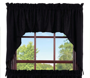 Burlap Black Swag Curtains